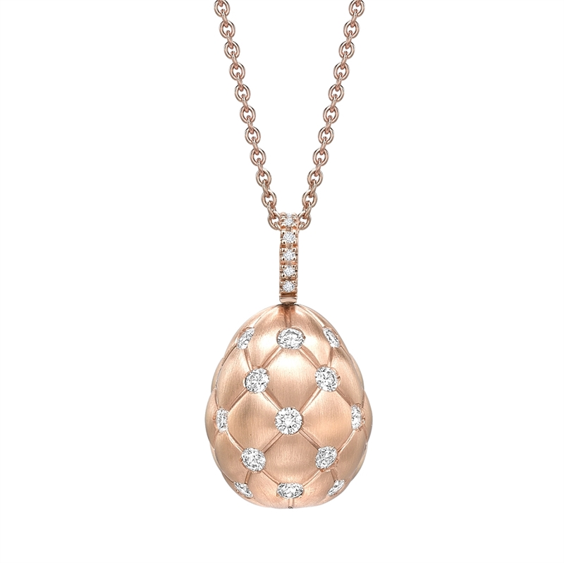 Brushed Rose Gold & Diamond Set Egg Pendant I Fabergé
