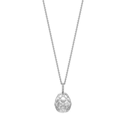 Brushed White Gold & Diamond Set Egg Pendant I Fabergé