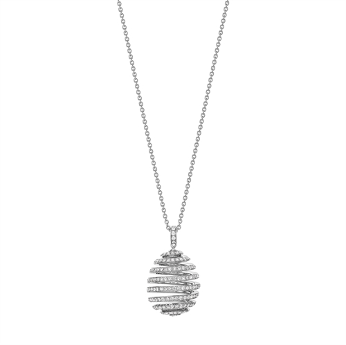 Fabergé Essence White Gold Diamond Pavé Spiral Egg Pendant
