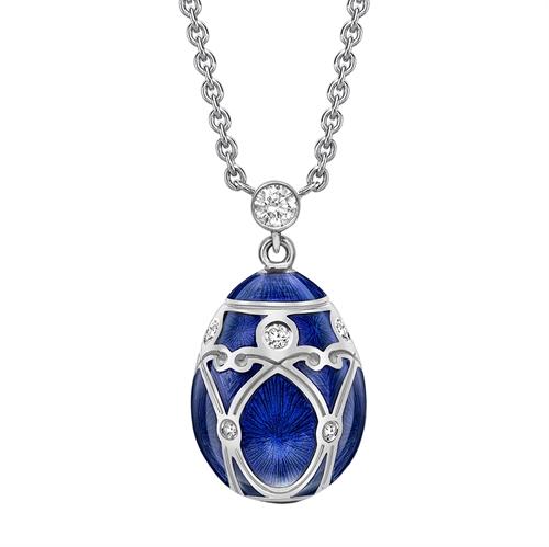 White Gold Diamond & Royal Blue Guilloché Enamel Petite Egg Pendant | Fabergé