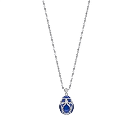 White Gold Diamond & Royal Blue Guilloché Enamel Petite Egg Pendant | Fabergé