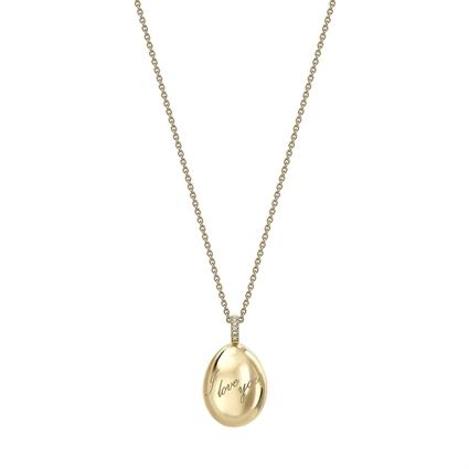 Fabergé Egg Pendant - Simple I Love You Yellow Gold Pendant
