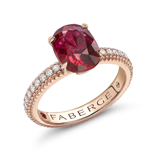 18K Rose Gold (7x5) Oval Ruby Fluted Ring with Diamond Set Shoulders
