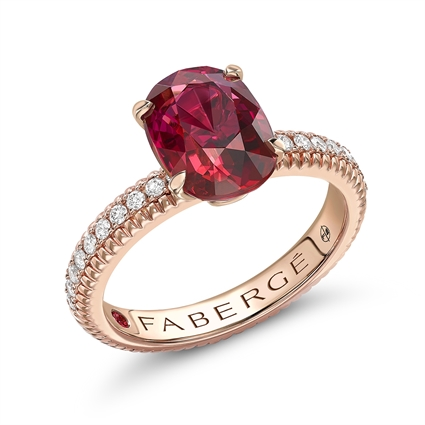 Colours of Love Rose Gold Ruby Fluted Ring with Diamond Shoulders
