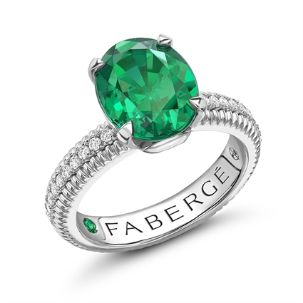 White Gold, Diamond & Emerald Fluted Fabergé Engagement Ring