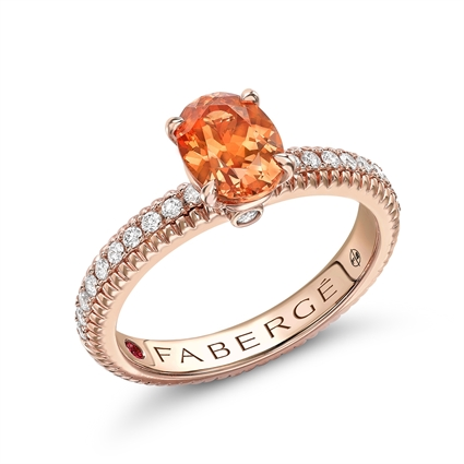 18K Rose Gold Spessartite Fluted Fabergé Ring with Diamond Set Shoulders
