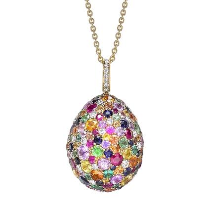 Yellow Gold Multicoloured Gemstone Egg Pendant | Fabergé