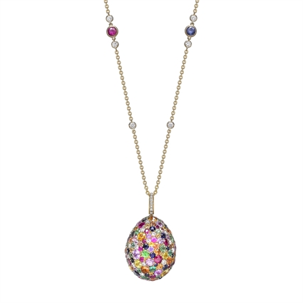 Yellow Gold Multicoloured Sapphire, Ruby, Emerald & Tsavorite Egg Pendant | Fabergé