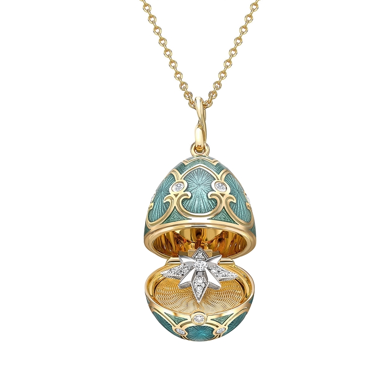 Yellow Gold & Teal Locket with Star Surprise Faberge