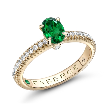 Yellow Gold Oval Emerald Fluted Ring with Diamond Shoulders | Fabergé