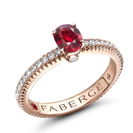 Rose Gold Ruby Fluted Ring with Diamond Shoulders | Fabergé