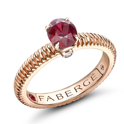Rose Gold Ruby Fluted Ring | Fabergé