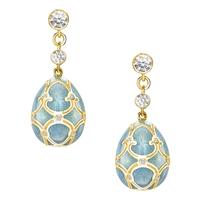 Turquoise Enamel, Diamond & Yellow Gold Earrings Fabergé