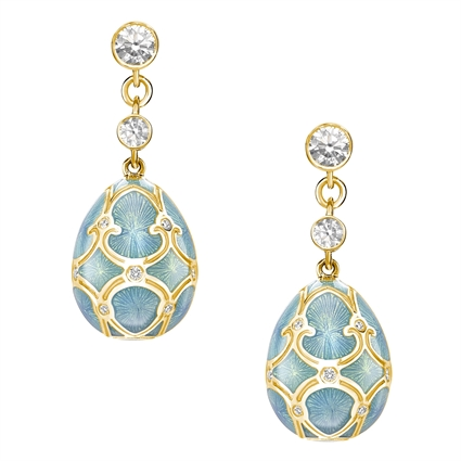 Yellow Gold Diamond & Turquoise Guilloché Enamel Egg Drop Earrings | Fabergé