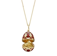 Fabergé Chinese New Year Red Enamel Gold Locket with Rat Surprise
