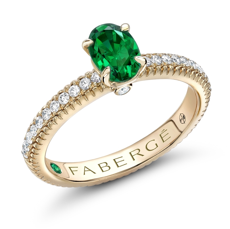 Emerald Ring With Diamond Band Fabergé