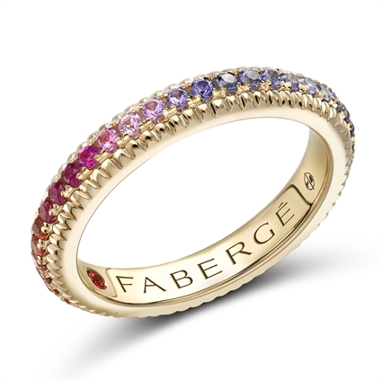 Yellow Gold Multi Stone Rainbow Fluted Ring