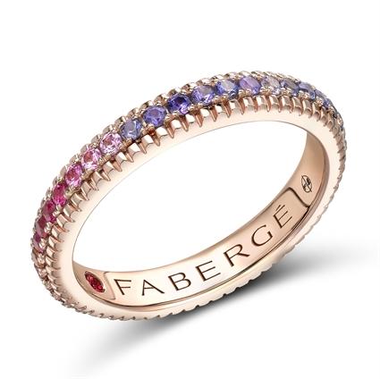 Rose Gold Rainbow Multicoloured Gemstone Set Fluted Ring | Fabergé