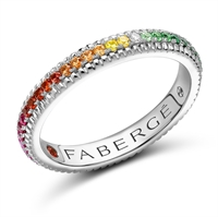 White Gold Multi Stone Rainbow Fluted Ring Fabergé