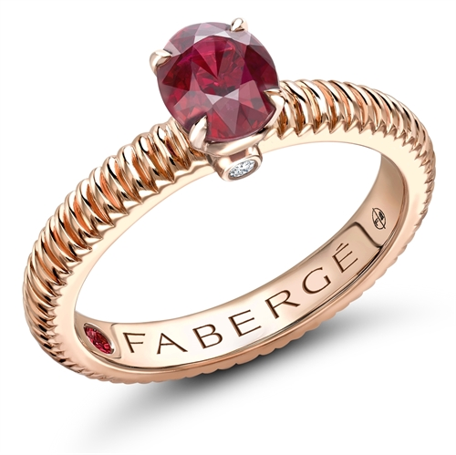 18K Rose Gold (6x4) Oval Ruby Fluted Ring
