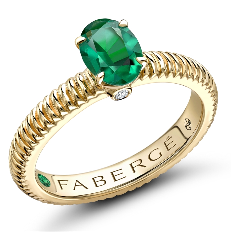 18K Yellow Gold Oval Emerald Fluted Ring