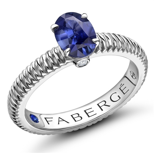18K White Gold (7x5) Oval Sapphire Fluted Ring