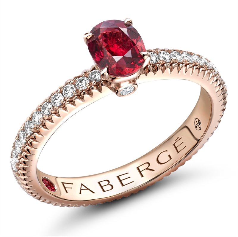 Ruby Rose Gold Ring With Diamonds Fabergé