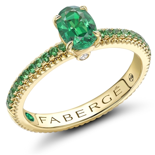 18k Yellow Gold 7x5 Oval Emerald Ring with Tsavorite set Shoulders