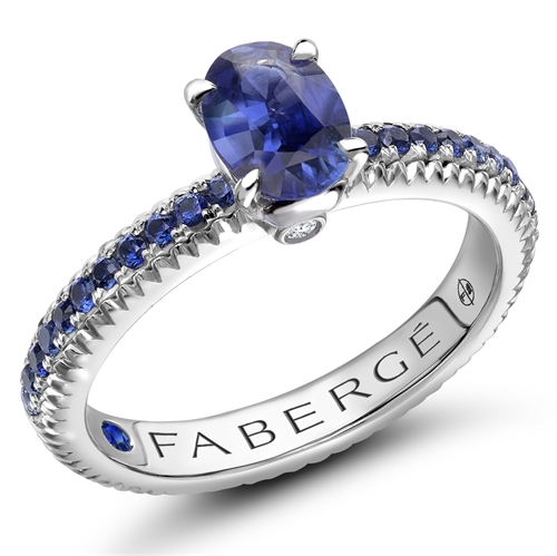 18K White Gold (7x5) Oval Sapphire Fluted Ring with Sapphire Set shoulders