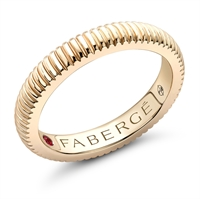 yellow gold fluted wedding band ring by Fabergé
