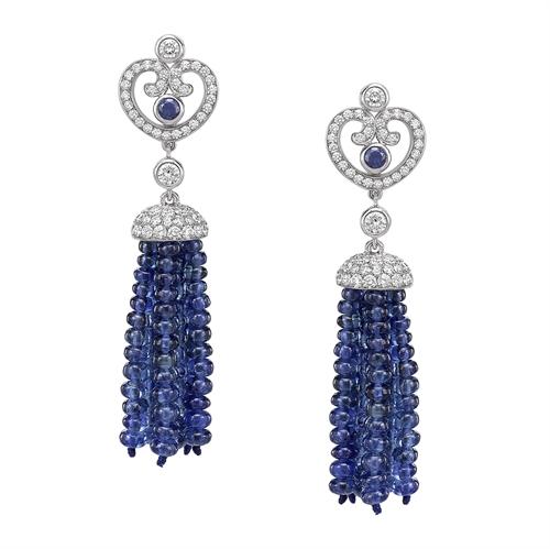Impératrice White Gold & Blue Sapphire Tassel Earrings I Fabergé