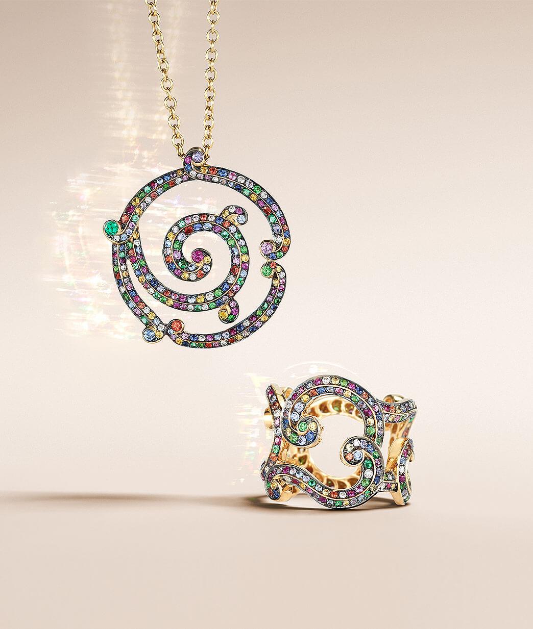 Fabergé quadrille pendant with white diamonds and blue sapphires