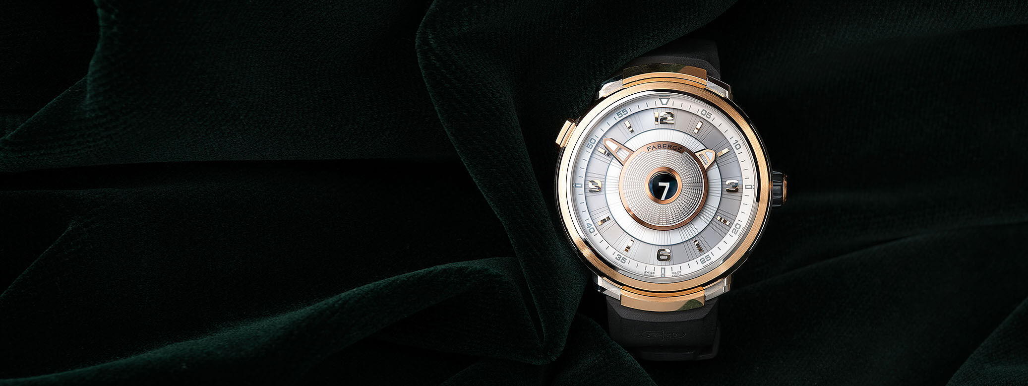 Close up view of a men's timepiece from the Visionnaire Collection – Fabergé Visionnaire Chronograph Rose Gold