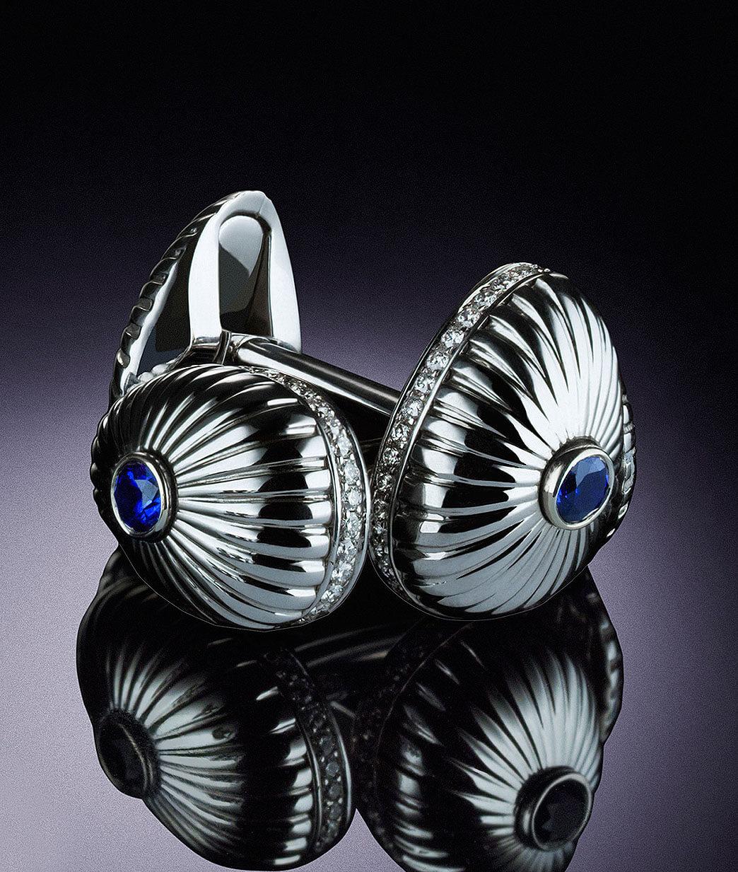 Close up view of Grigori Sapphire Cufflinks