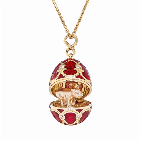 Chinese New Year Palais Tsarskoye Selo Yellow Gold Locket with Red Enamel and Red Gold Pig Surprise