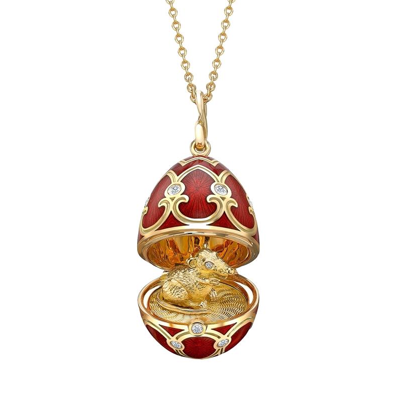 Кулон Fabergé в честь Китайского Нового года из золота с красной эмалью и сюрпризом в виде крысы