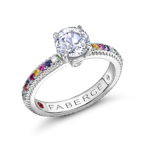 Colours of Love White Gold Green Sapphire Fluted Ring With Multicoloured Gemstone Shoulders | Fabergé