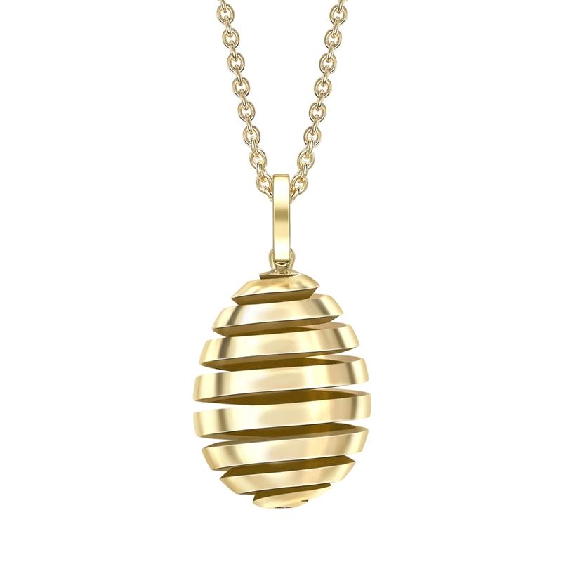 Fabergé Essence Yellow Gold Spiral Egg Pendant