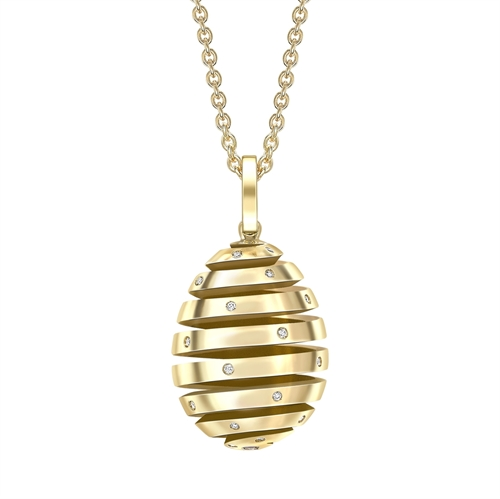 Fabergé Essence 螺旋镶钻蛋形黄金吊坠