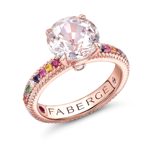 Rose Gold Pink Sapphire Fluted Ring With Multicoloured Gemstone Shoulders | Fabergé