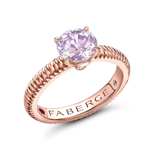 18k Rose Gold Round Sapphire Fluted Band Ring