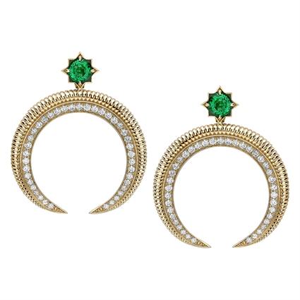 Hilal Yellow Gold Emerald & Diamond Earrings | Fabergé