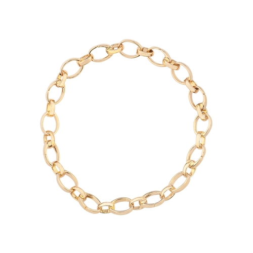18K Yellow Gold Chunky Chain Bracelet For Charms
