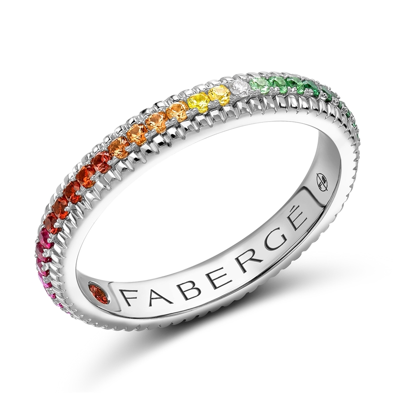 Colours of Love White Gold Rainbow Multicoloured Gemstone Fluted Eternity Ring