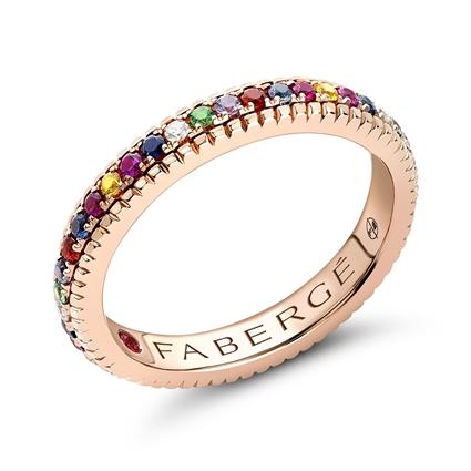 Rose Gold Multicoloured Gemstone Fluted Eternity Ring | Fabergé