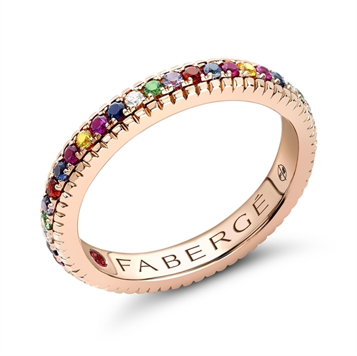 18K Rose Gold Multicolour Diamond, Ruby, Sapphire & Tsavorite Fluted Band Ring