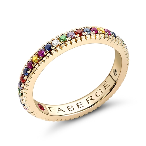 18K Yellow Gold Multicolour Diamond, Ruby, Sapphire & Tsavorite Fluted Band Ring