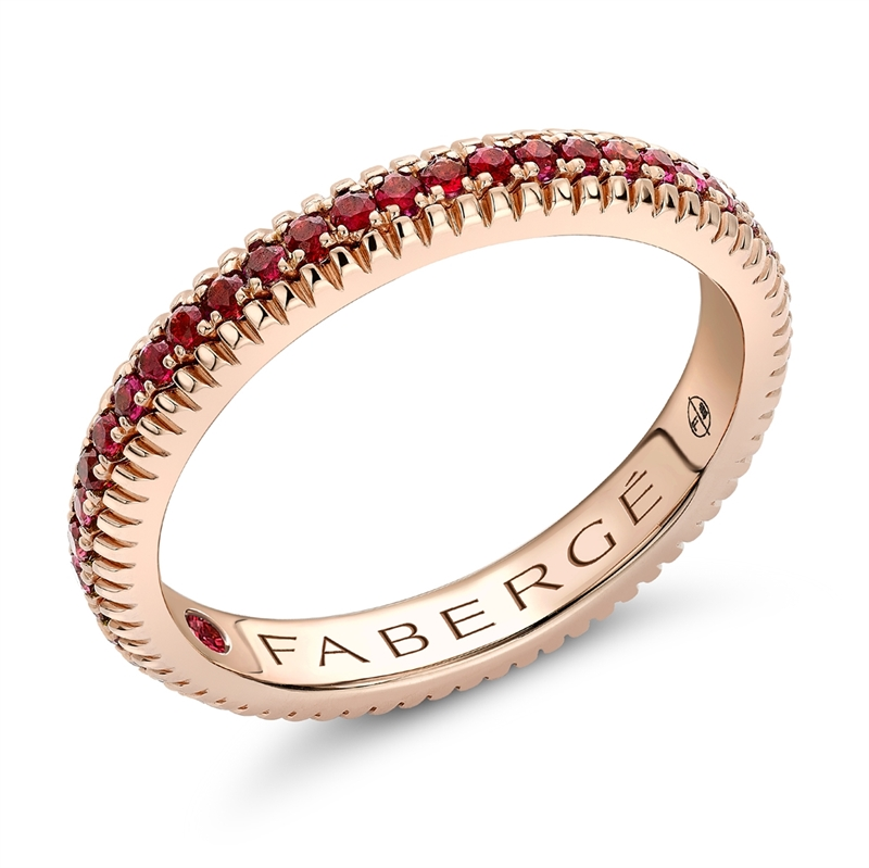 FABERGÉ Engagement Ring - Ruby Rose Gold Fluted Band