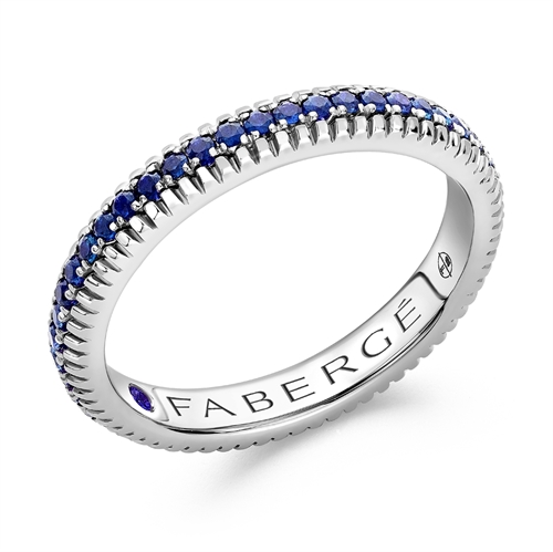 18K White Gold Blue Sapphire Set Fluted Band Ring