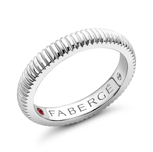 White Gold Fluted Ring I Fabergé